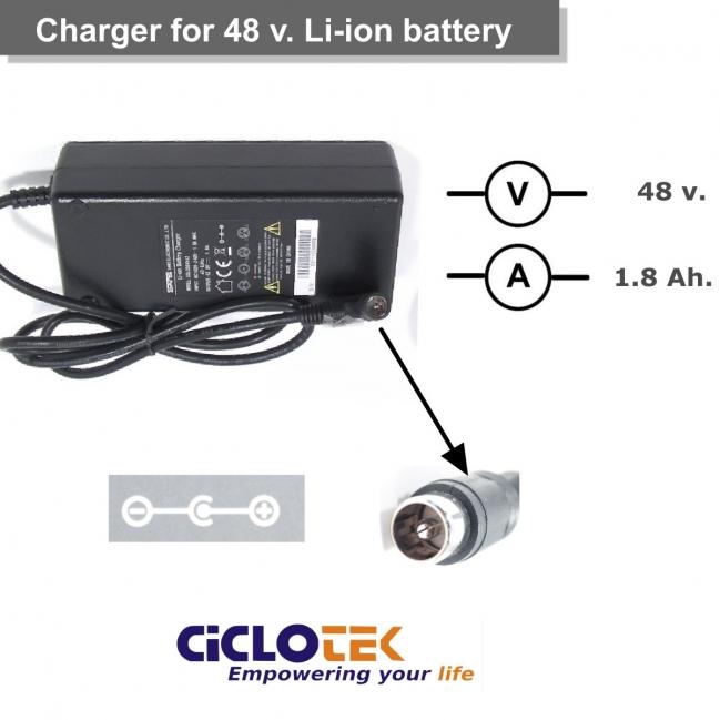 Cargador para batería de litio de 48 . Tipo  CK