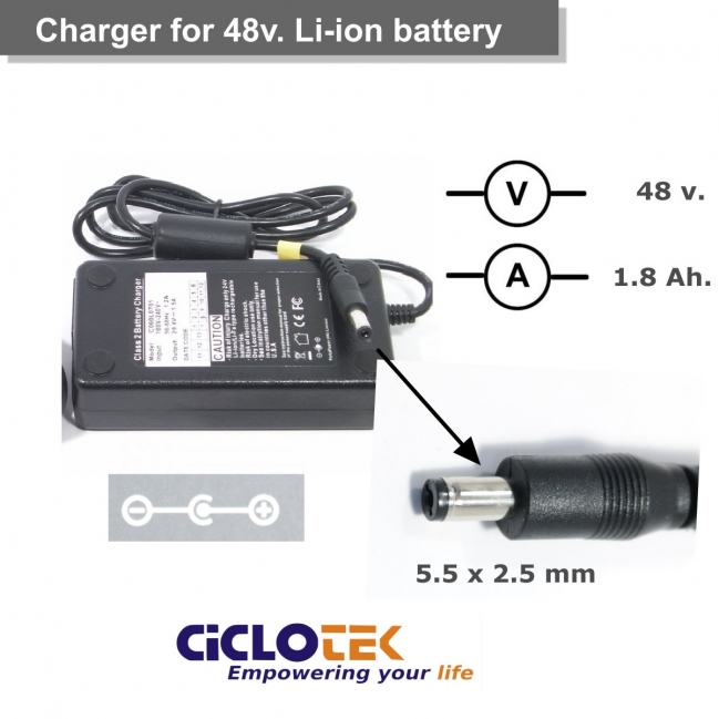 Cargador para batería de litio de 48 . Tipo  FT