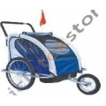 Remolque / Jogger Ciclotek 2 niños azul/gris